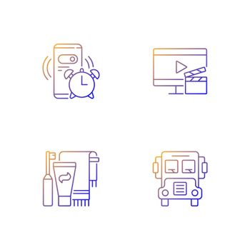 Student everyday routine gradient linear vector icons set