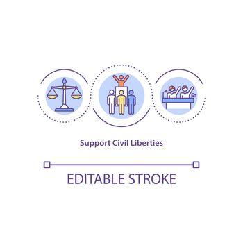 Support civil liberties concept icon