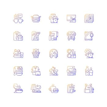 Everyday routine gradient linear vector icons set
