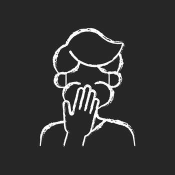 Nausea chalk white icon on dark background