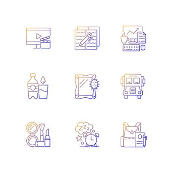 Everyday activities gradient linear vector icons set
