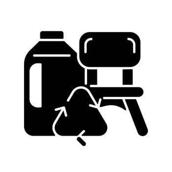 Plastic lumber from plastic bottles black glyph icon