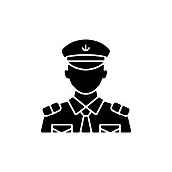 Male chief officer black glyph icon