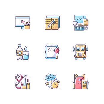 Everyday activities RGB color icons set