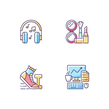 Everyday office worker routine RGB color icons set