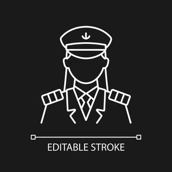 Female captain white linear icon for dark theme