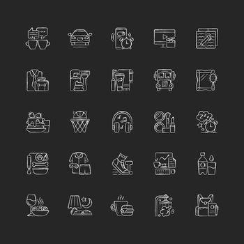 Everyday routine chalk white icons set on dark background