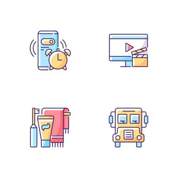 Student everyday routine RGB color icons set