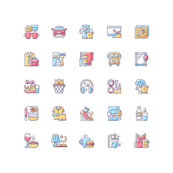 Everyday routine RGB color icons set