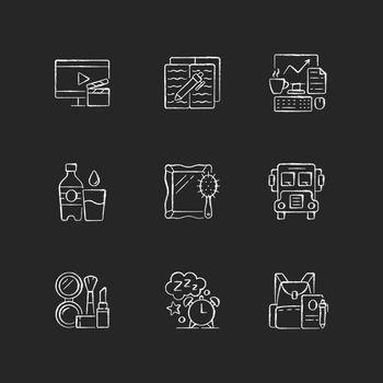 Everyday activities chalk white icons set on dark background