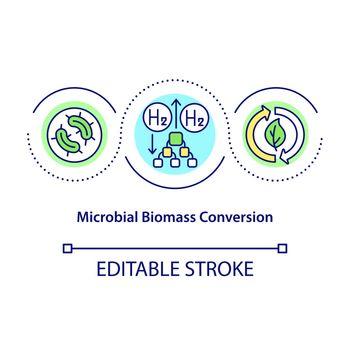 Microbial biomass conversion concept icon