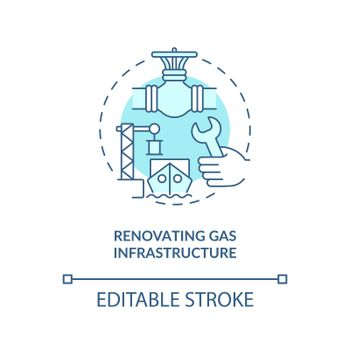 Renovating gas infrastructure concept icon