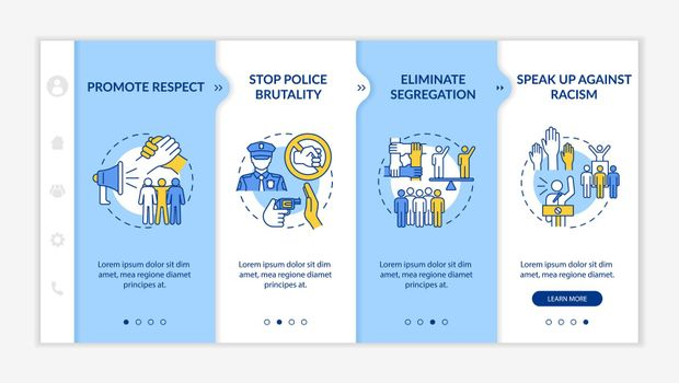 Anti-racism commitment onboarding vector template