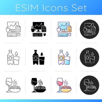 Everyday routine icons set