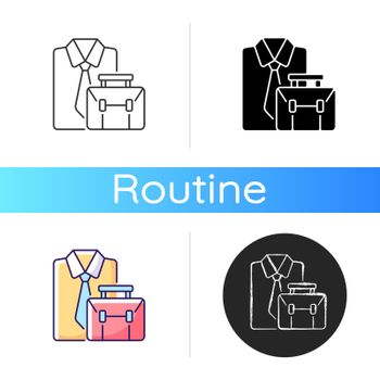 Formal clothing and briefcase icon