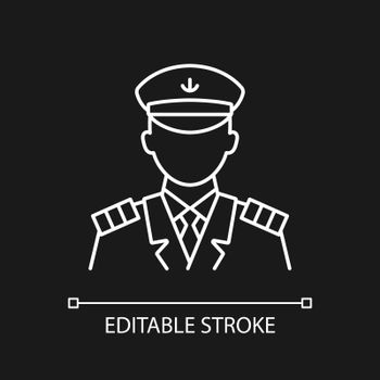 Male captain white linear icon for dark theme