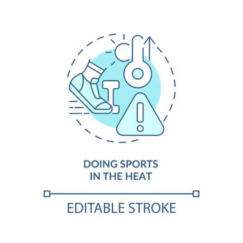 Doing sports in heat concept icon
