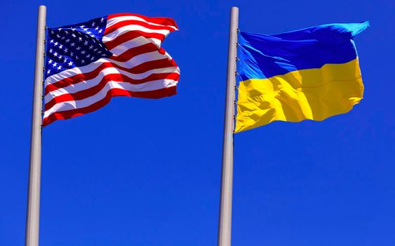 flags of the USA and Ukraine