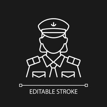 Female chief officer white linear icon for dark theme