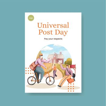 Poster template with world post day concept,watercolor style