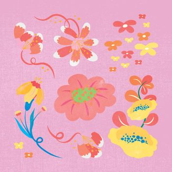 Colorful flower, spring clipart vector illustration