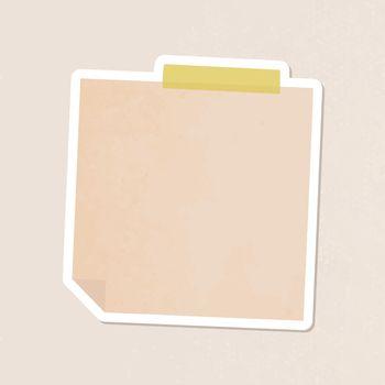 Orange notepaper journal sticker vector
