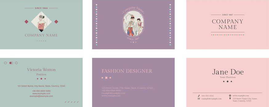 Vintage fashion templates vector business card, remix from artworks by George Barbier