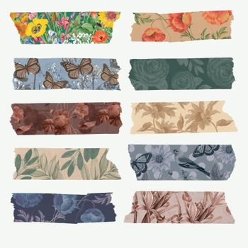 Collage scrapbooking DIY vintage decor, vector washi tape sticker set