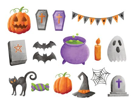 Set of halloween element decoration in watercolor style.