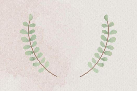 Green leafy wreath badge vector