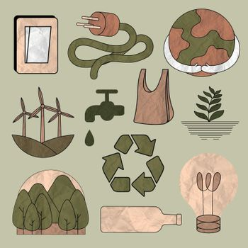 Environment illustration vector set in crumpled paper texture