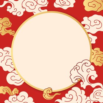 Red oriental frame, Chinese cloud illustration vector