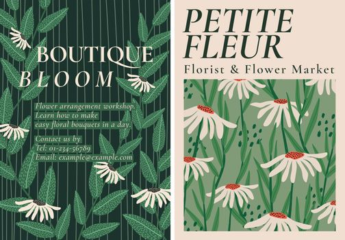 Retro flower patterns vector template set for poster