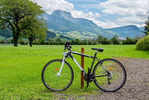Bike and in the background the amazing Switzerland landscape