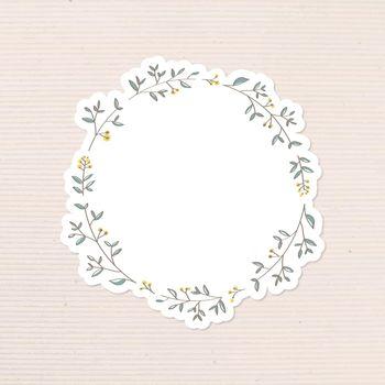 Leafy doodle journal sticker design element vector