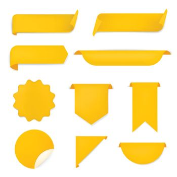 Yellow banner sticker, blank vector simple clipart set