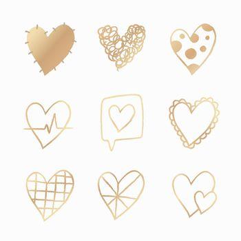 Gold heart element vector set