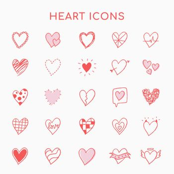 Heart icons, pink set vector in hand-drawn doodle style