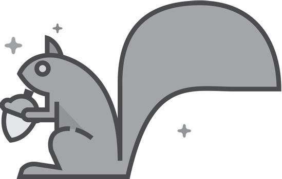 Flat Grayscale Icon - Squirrel