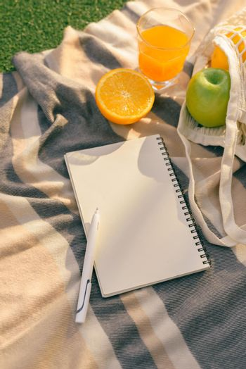 summer picnic in nature with diary and fruits