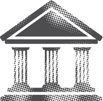 Halftone Icon - Bank building