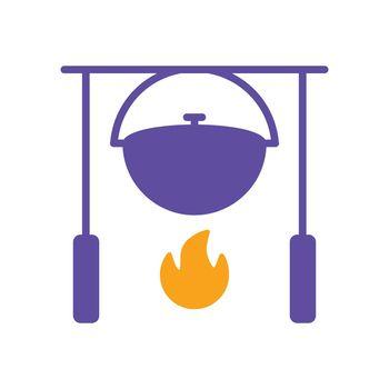 Camping pot over a bonfire vector glyph icon