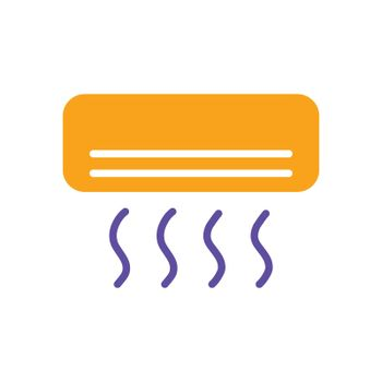 Split-system air conditioner flat vector glyph icon