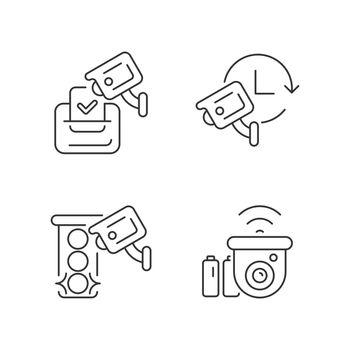 Surveillance system linear icons set