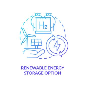 Renewable energy storage option concept icon