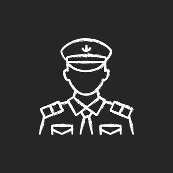 Male chief officer chalk white icon on dark background