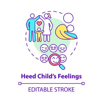 Heed child feelings concept icon