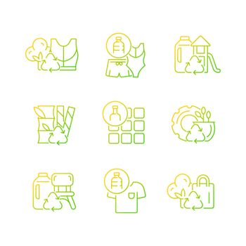 Natural resources conservation gradient linear vector icons set