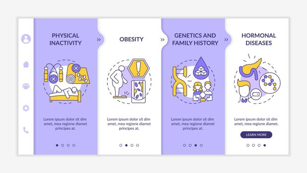 Diabetes causes onboarding vector template