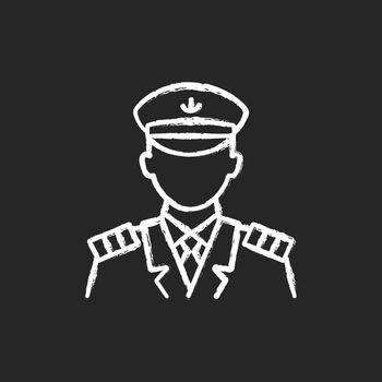 Male captain chalk white icon on dark background